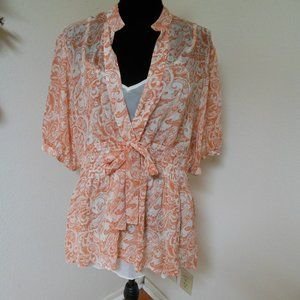 Soft Surroundings Orange and white Floral Silk Top